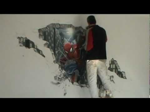 Spiderman dipinto a cura di roberto lovo arti decorative youtube - Disegni su pareti di casa ...