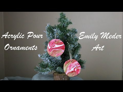 Acrylic Pour Ornaments, Diy Christmas Painted Wood