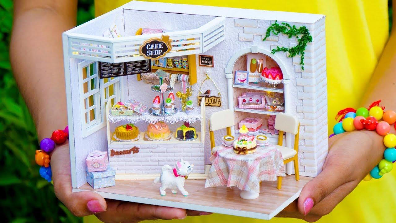Diy Cake Shop Miniature Doll House Youtube