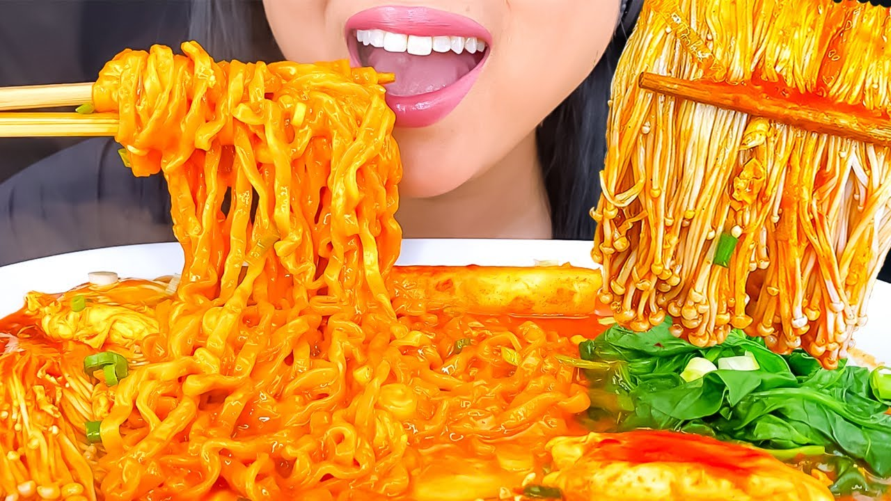 ASMR CHEESY FIRE NOODLES ENOKI MUSHROOM MUKBANG | EATING SHOW | ASMR PHAN