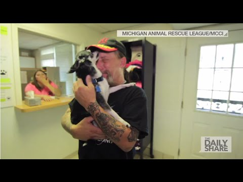 Man cries tears of joy after being reunited with lost dog