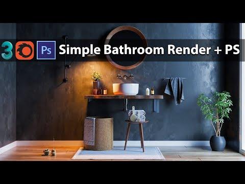 3dsmax Corona Render Bathroom Tutorial + Post Production