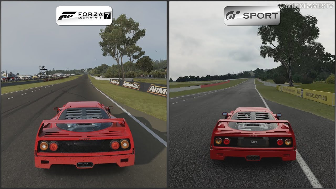 forza motorsport 7 vs gran turismo sport ferrari f40 at. Black Bedroom Furniture Sets. Home Design Ideas