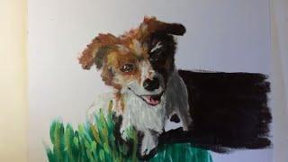 Painting My Dog using Acrylic Paint!