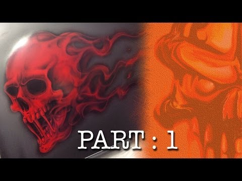 Skull with Red Candy Flames, Step by Step Part 1