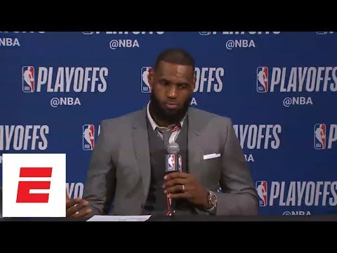 LeBron gets testy after game: 'You guys think I'm gonna throw my teammates under the bus?' | ESPN