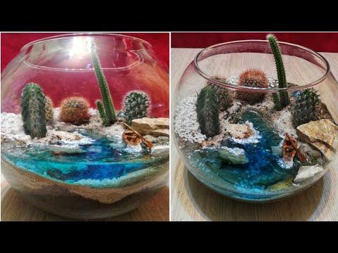 DIY Terrarium with River and boat diorama