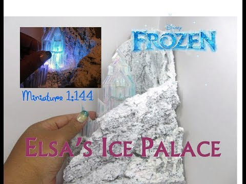 DIY Foam and Recycled Plastic Frozen Elsa Ice Palace Castle 1:144 Scale Dollhouse Miniature Lights!