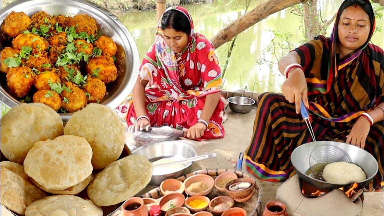 পুজো স্পেশাল!! নরম তুলতুলে রাধাবল্লভী সাথে শুকনো আলুরদম রেসিপি,একদম জমে যাবে || healthy recipes