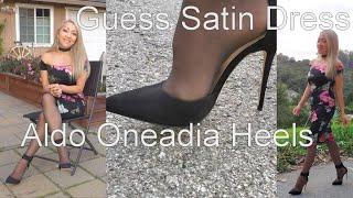 Satin Hobble dress and Aldo Onaedia Ankle Strap Heels