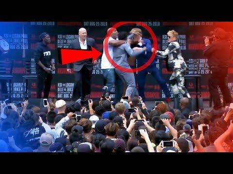 KSI VS LOGAN PAUL PRESS CONFERENCE || Jake Paul throwing Bra and Ksi and Logan almost fights