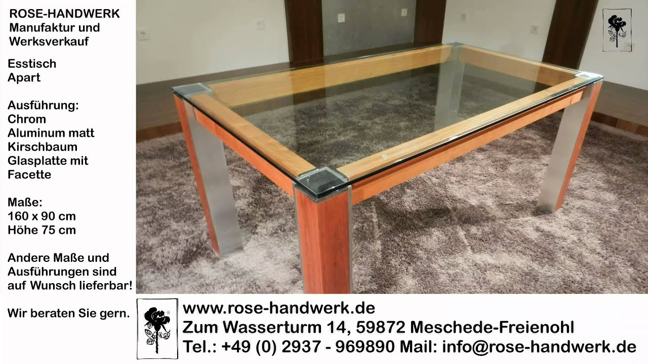 esstisch apart metall chom aluminium holz kirschbaum glas youtube. Black Bedroom Furniture Sets. Home Design Ideas