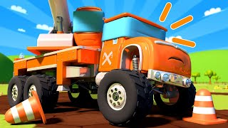 Pretend play working with construction vehicles ! Monster Trucks Cartoon for Children - Monster Town