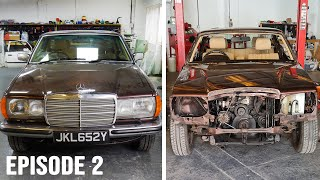 1983 Mercedes Benz W123 280CE Restoration | Part 2 | Stripping Parts