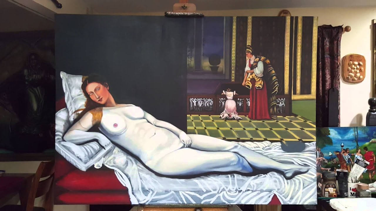 Venus of urbino by titian grisaille - YouTube