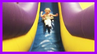 American Girl Bitty Baby Dolls Go to Monkey Joes and Chuck E Cheese Bounce House Indoor Playground
