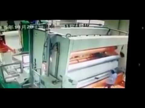 Man Is Sucked Up Into Paper Machine and Flattened