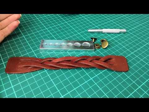 Работа с кожей. Браслет из натуральной кожи. Браслет косичка. Making A Leather Bracelet