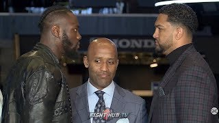 DEONTAY WILDER HAS SCARY INTENSE FACE OFF WITH DOMINIC BREAZEALE IN NEW YORK AT PRESS CONFERENCE