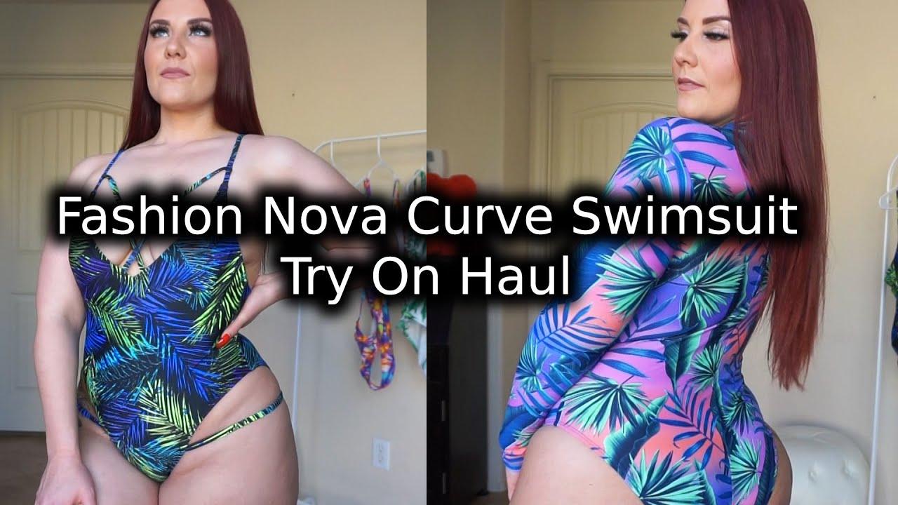 Tropical Printed One,Piece Fashion Nova Curve Swimwear Haul