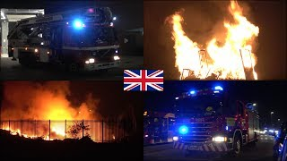 Bonfire night chaos - Fire trucks and emergency vehicles responding