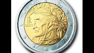 Обзор монеты 2 EURO Италии 2002 года выпуска!!!(Монета регулярного чекана Италии!!!, 2016-04-30T19:51:30.000Z)