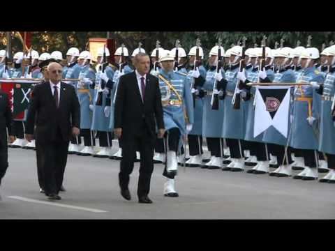 Turkish President Recep Tayyip Erdogan arrives at Turkish Parliament