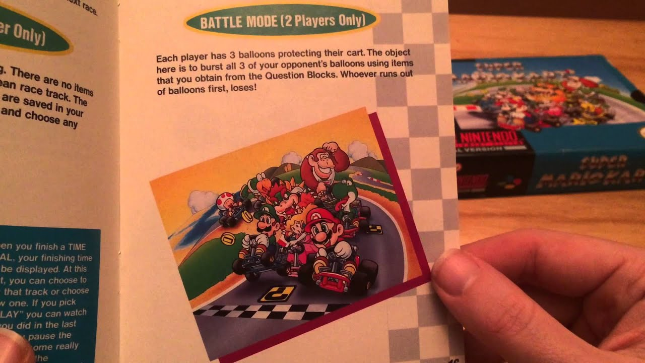 snes super mario kart unboxing and manual read through youtube rh youtube com Mario Kart 64 Super Punch Out SNES