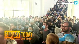 Americans Returning From Europe Waiting In Crowded Airport Lines   Sunday TODAY