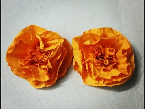 How to make Marigold flower,marigold flower made out of crepe paper,paper craft ideas,DIY paper flow