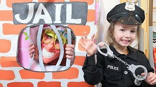 Ulya playing as Cop LOCKED UP Papa in Jail Playhouse Toy for Kids