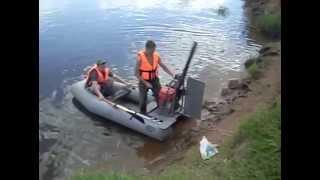 Аэроглиссер.Лодка ПВХ.Первое испытание р.Вятка