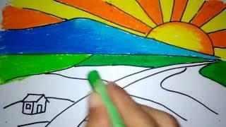 cara menggambar matahari terbit di pegunungan untuk anak SD