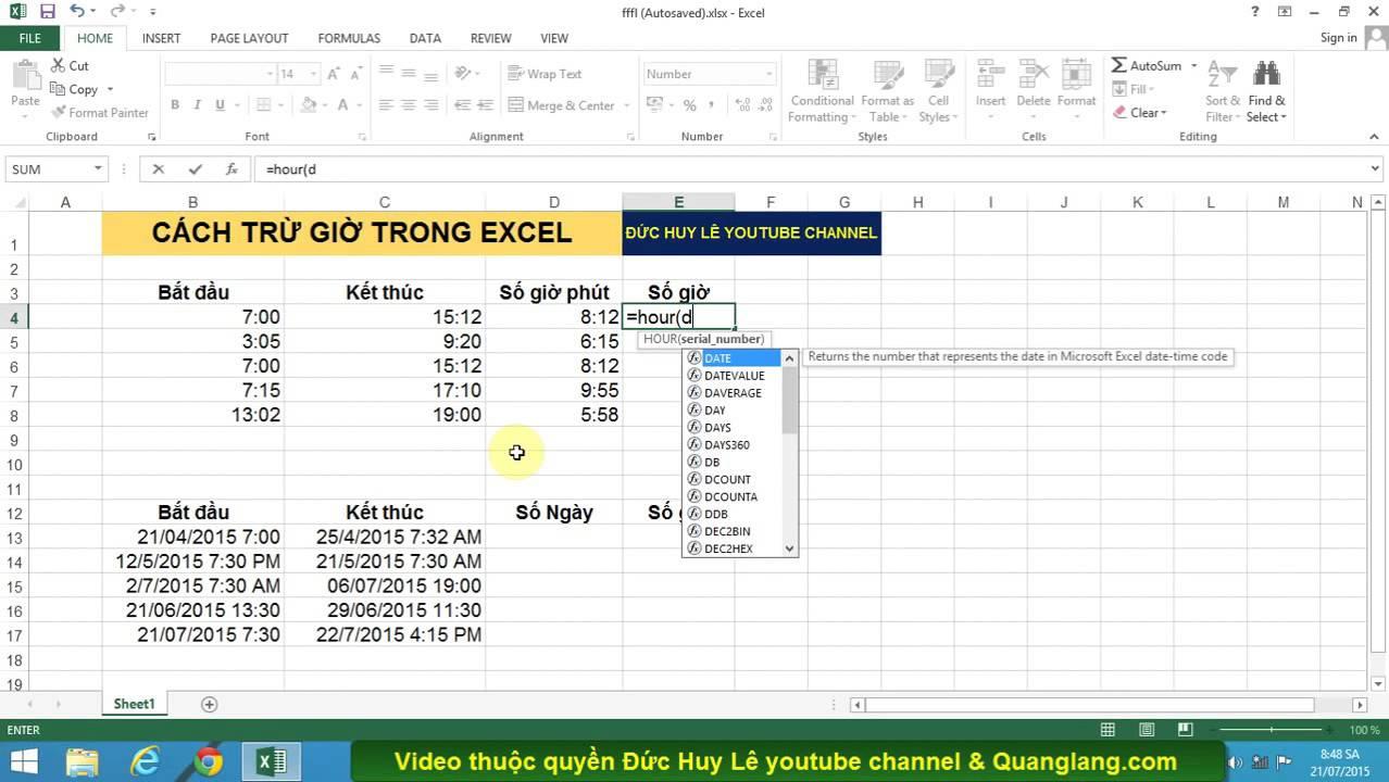 Cách trừ giờ trong Excel cơ bản và nâng cao
