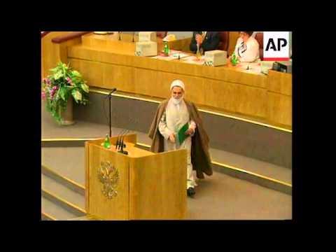 RUSSIA: MOSCOW: SPEAKER OF IRANIAN PARLIAMENT ADDRESSES THE DUMA