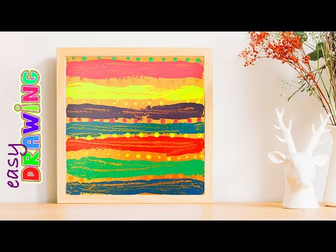 How easy draw a colorful Abstract painting with kids. Acrylics on Canvas.