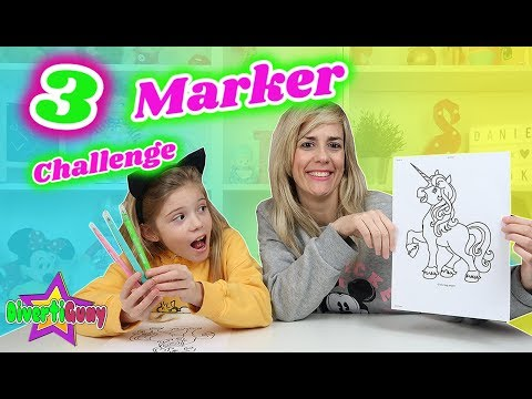 3 MARKER CHALLENGE!! Coroleanado Con 3 Rotuladores   Reto 3 Rotuladores - Daniela Divertiguay