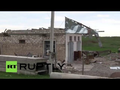 Последствия обстрела города Мардакерт в Нагорном Карабахе