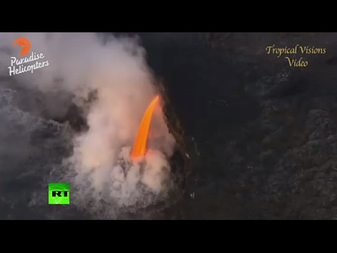 'Manguera' flujo: lava fundida del volcán Kilauea, Hawaii