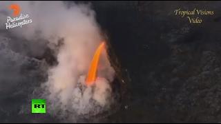 'Firehose' flow: Molten lava gushes from Kilauea volcano, Hawaii