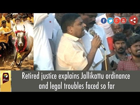 Jallikattu Ordinance: Retired Justice Explains Legal Troubles to Protesters at Marina, Chennai