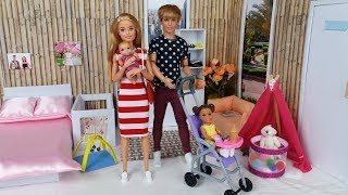 Barbie Ken and two little Cute Baby Morning Bedroom Bathroom Routine