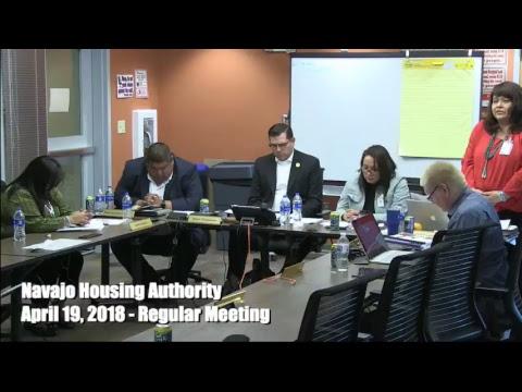 Navajo Housing Authority Regular Board meeting - April 19, 2018