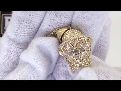 Gold Basketball Hoop Pendant   Bling Bling Rim   Nothing but Net