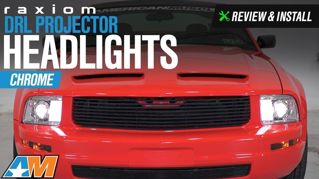 medium resolution of 2005 2009 mustang gt raxiom drl projector headlight review install
