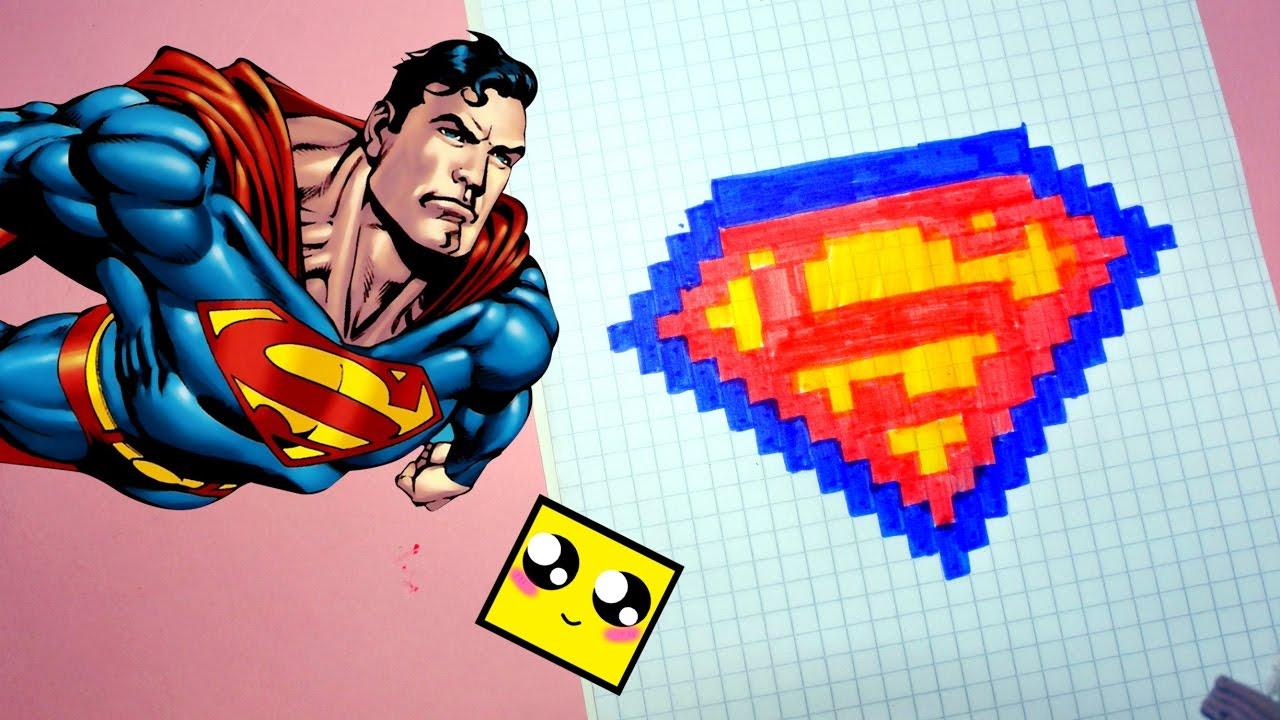 рисуем по клеточкам логотип супермена Superman Logo Pixel Art