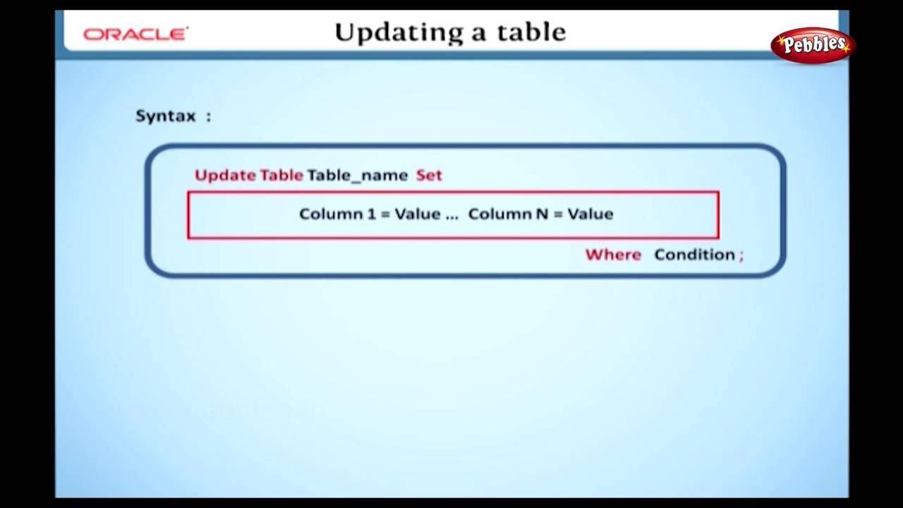 Learn Oracle | How to Update a Table using SQL  sc 1 st  YouTube & Learn Oracle | How to Update a Table using SQL - YouTube