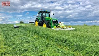 FIRST FIELD of 2020 Hay Mowing with JOHN DEERE 8245R Tractors