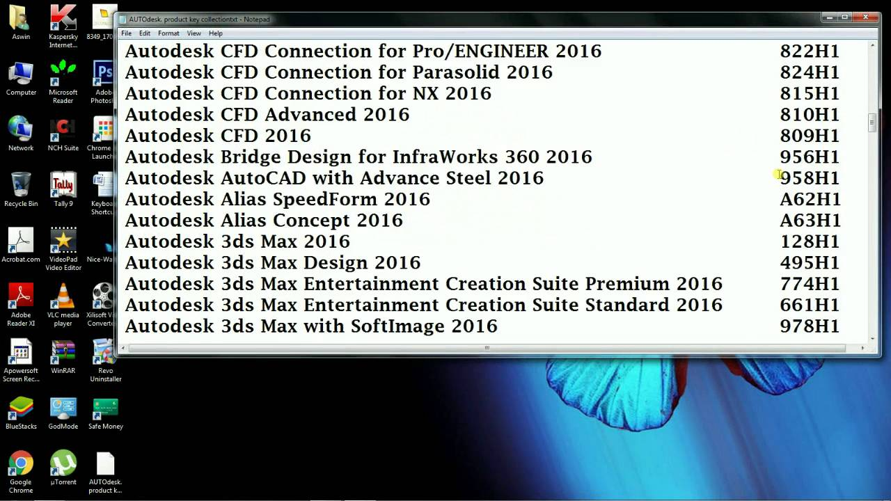 autodesk 2017 product keys list