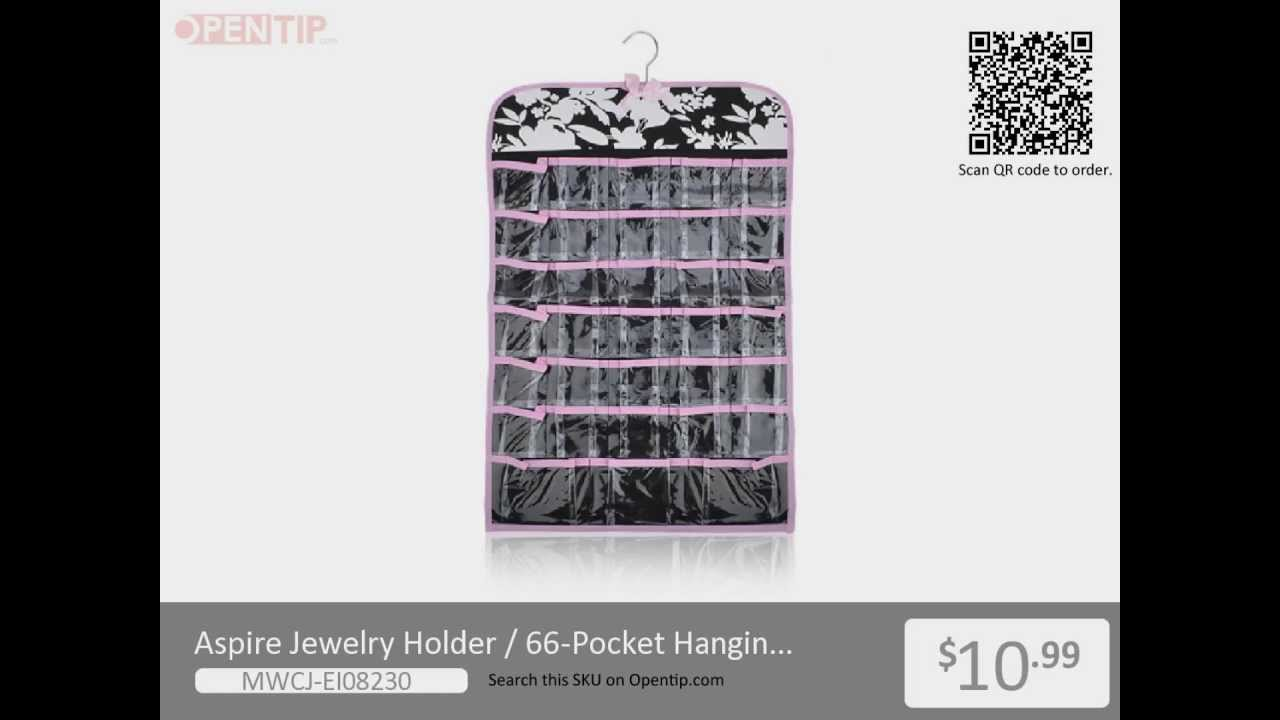 Aspire 66 Pockets Hanging Jewelry Organizer from Opentipcom YouTube
